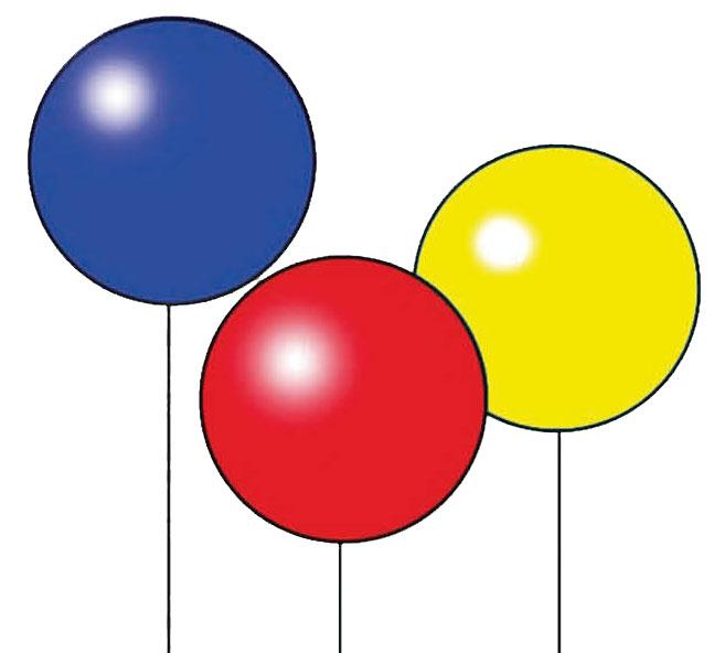 Drie ballonnen uit het logo van de wijkquiz